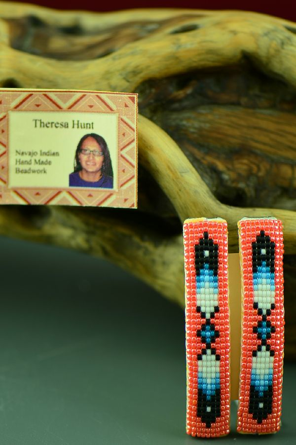 Theresa Hunt American Indian Beaded Prayer Feather Barrettes