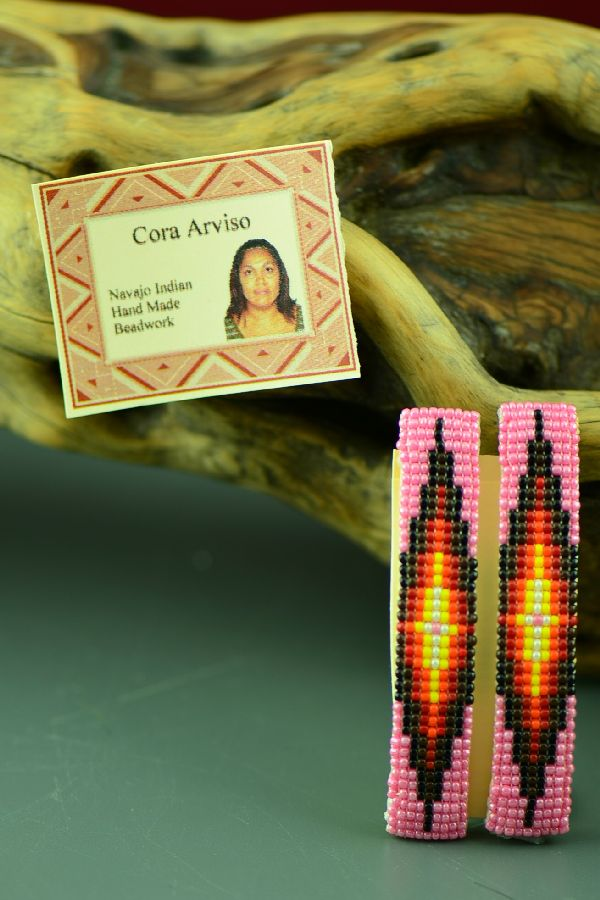 American Indian Multi-Colored Beaded Barrettes by Cora Arviso