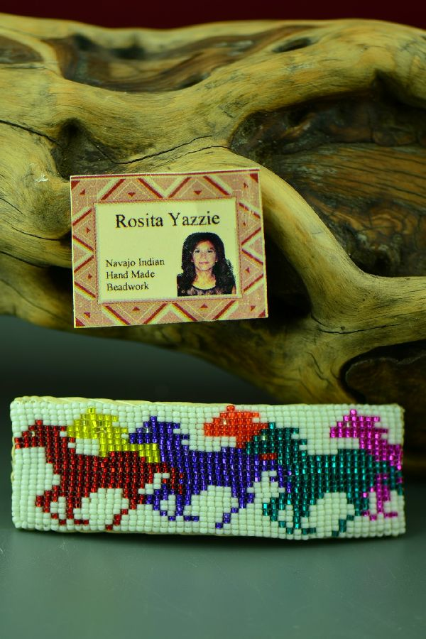 Navajo Beaded Barrette with Horses by Rosita Yazzie