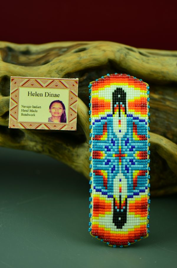 American Indian Beaded Prayer Feather Barrette by Helen Dinae