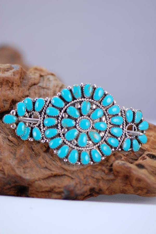 Navajo – Sterling Silver Tear Drop Turquoise Cluster Hair Piece