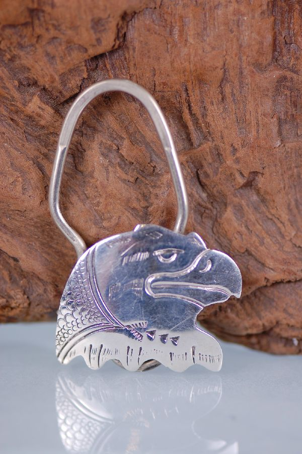 Navajo – Hand Stamped Sterling Silver Eagle Key Holder/Key Chain