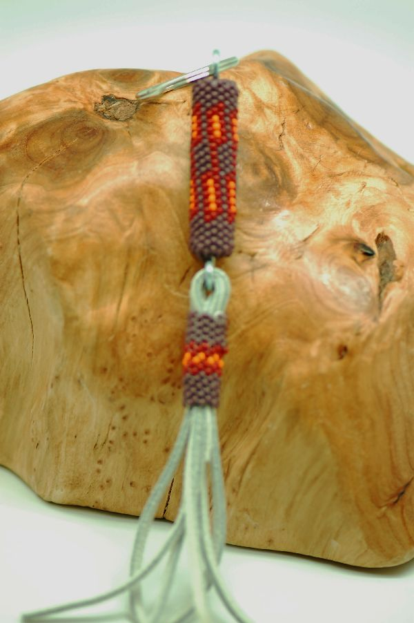 Navajo – Multi-Colored Seed Bead Key Holder/Key Chain by Mary Saunders