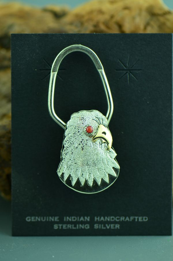 Navajo – 12ktGF and Sterling Silver Coral Eagle Key Chain by Betty Tom