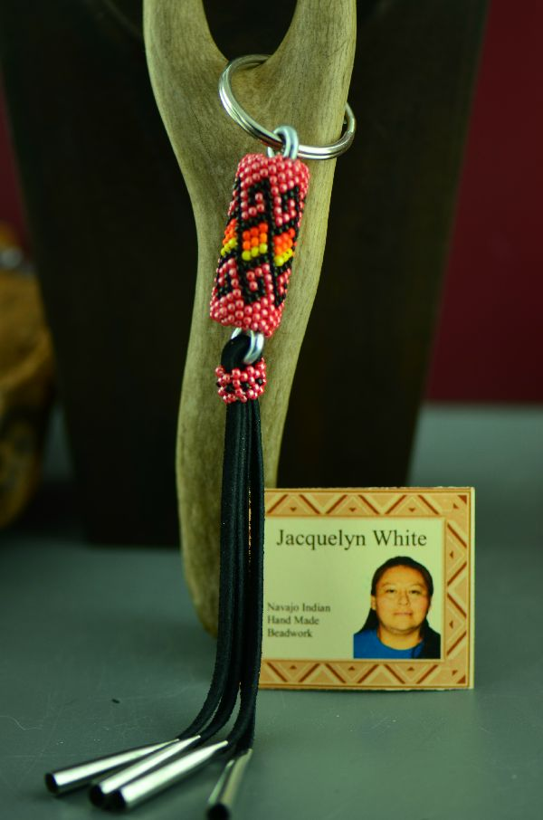 Navajo Multi-Colored Seed Bead Key Holder/Key Chain by Jacqueline White