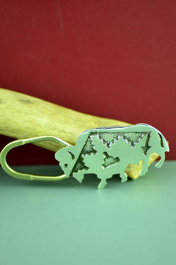 Navajo Hand Stamped Sterling Silver Buffalo Key Chain by Benson Kinsel
