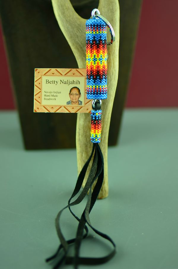 Navajo Multi-Colored Beaded Key Chain by Betty Naljahih