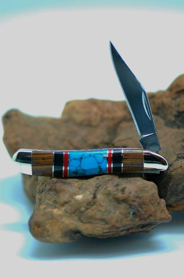 Bash Dani - Custom Inlaid Turquoise, Coral and Jet and Cocoboa Single Blade Peanut  Knife