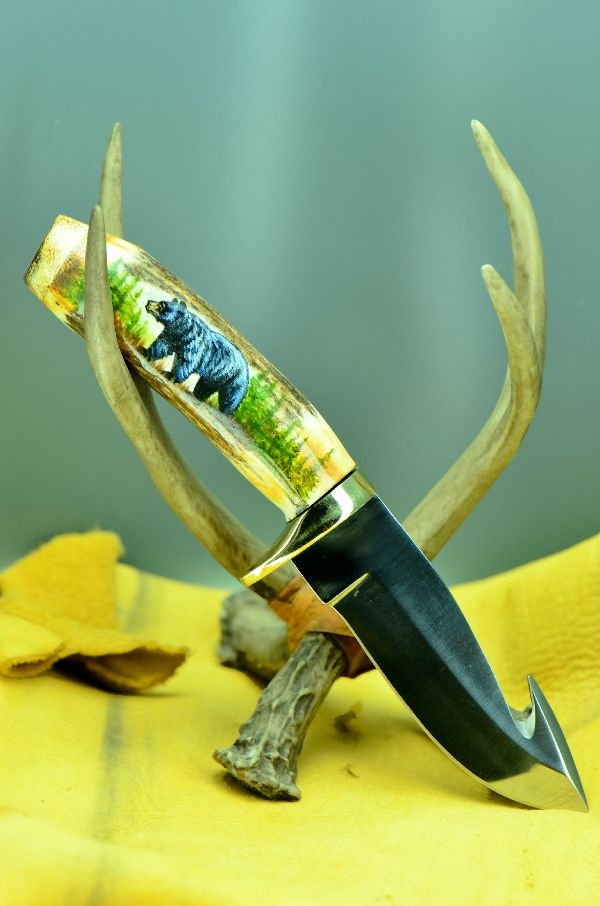 Hand Painted Black Bear Gut Hook Stag Handle Hunting Knife by Tammy Strum