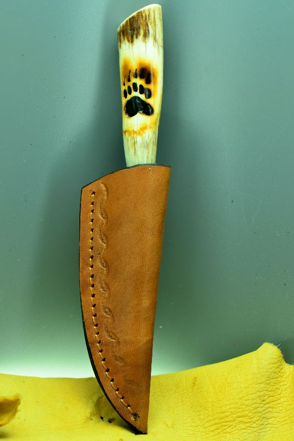 Hand Carved Wolf Paw Stag Handle Hunting Knife by Breck Morey
