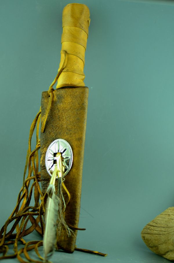 Navajo  – Buckskin Water Buffalo Bone Blade Knife/Letter Opener with Buckskin Sheath by RDC