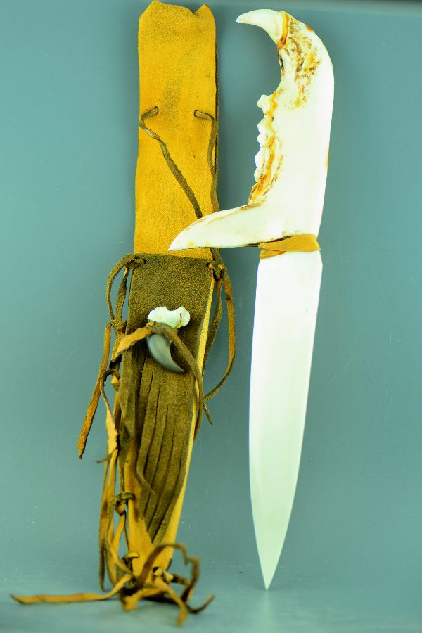 Arapahoe Ancestry � Wallow Fire Black Bear Jaw Bone Knife with Buckskin Sheath by Brightsky (Lindy Secord)