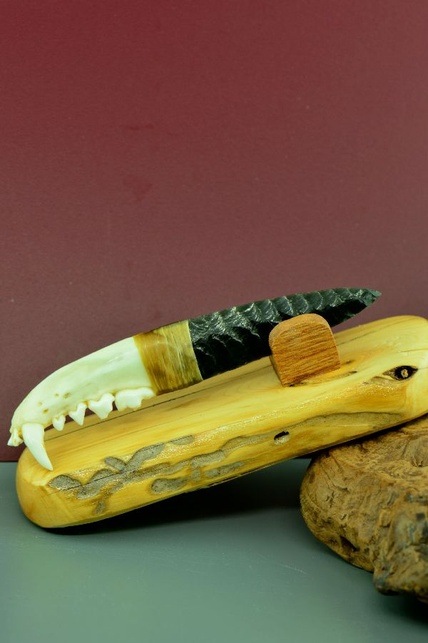 Flintknapped Obsidian Blade and Badger Jaw Bone Knife by Dale Duby