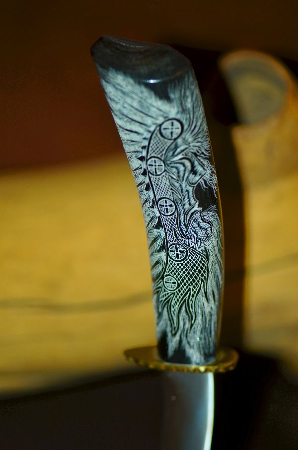 Hand Carved Buffalo Horn Knife with Scrimshawed Brave, Eagle and Medicine Man by Jesus Armendariz (Apprenticed by renowned Native American Knife Maker Ted Miller)