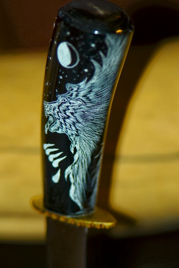 Hand Carved Buffalo Horn Knife with Scrimshawed Eagle, Brave and Bear by Jesus Armendariz (Apprenticed by renowned Native American Knife Maker Ted Miller)