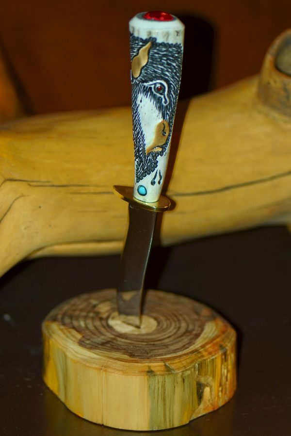 Hand Carved Deer Antler Knife with Buffalo and Deer Tracks by Jesus Armendariz (Apprenticed by renowned Native American Knife Maker Ted Miller)