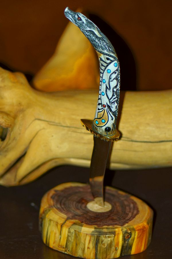 Jesus Armendariz Hand Carved Deer Antler Knife with Wolf and Indian Brave (Apprenticed by renowned Native American Knife Maker Ted Miller)
