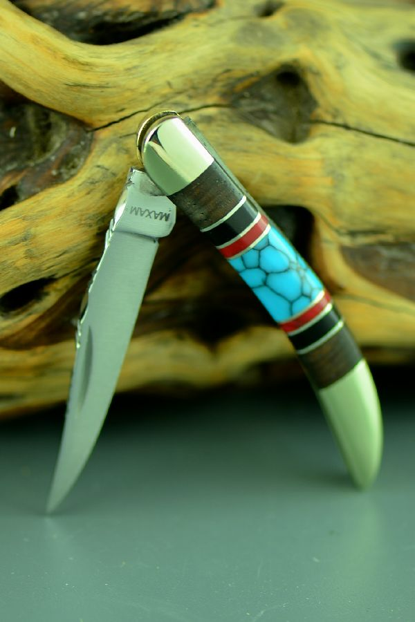 Bash Dani Custom Inlaid Turquoise, Red Spiny Oyster, Jet and Cocoboa Single Blade Texas Toothpick Knife