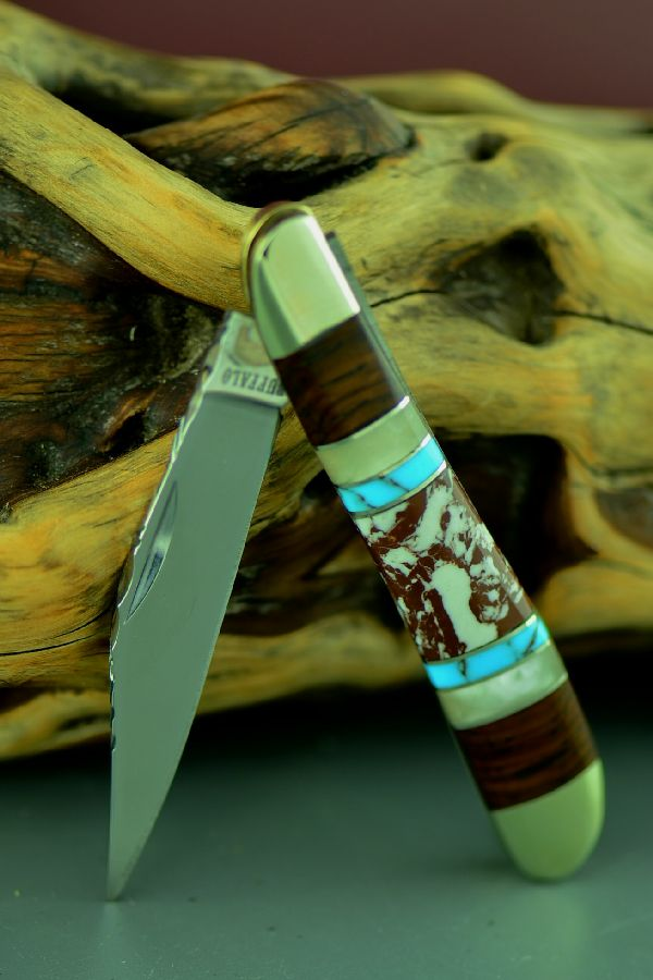 Bash Dani Custom Wild Horse Magnesite, Turquoise, Mother of Pearl and Cocoboa Single Blade Traditional Jack Knife