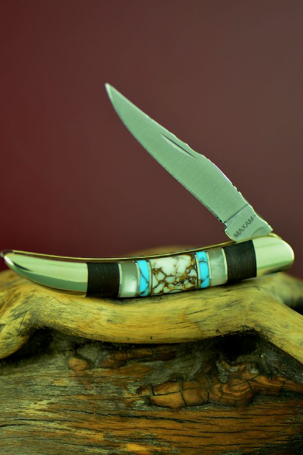Bash Dani Custom Inlaid Wild Horse Magnesite, Turquoise, Mother of Pearl and Cocoboa Single Blade Texas Toothpick Knife