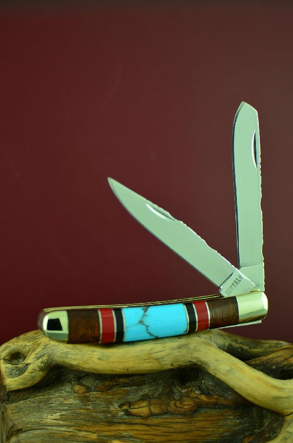 Bash Dani Custom Inlaid Turquoise, Red Spiny Oyster Shell, Jet and Cocoboa 2 Blade Mini Trapper Knife