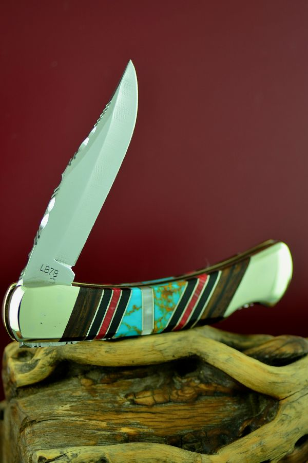 Bash Dani Custom Inlaid Turquoise, Spiny Oyster Shell, Mother of Pearl, Jet and Cocoboa Schrade Uncle Henry Lock Back Knife