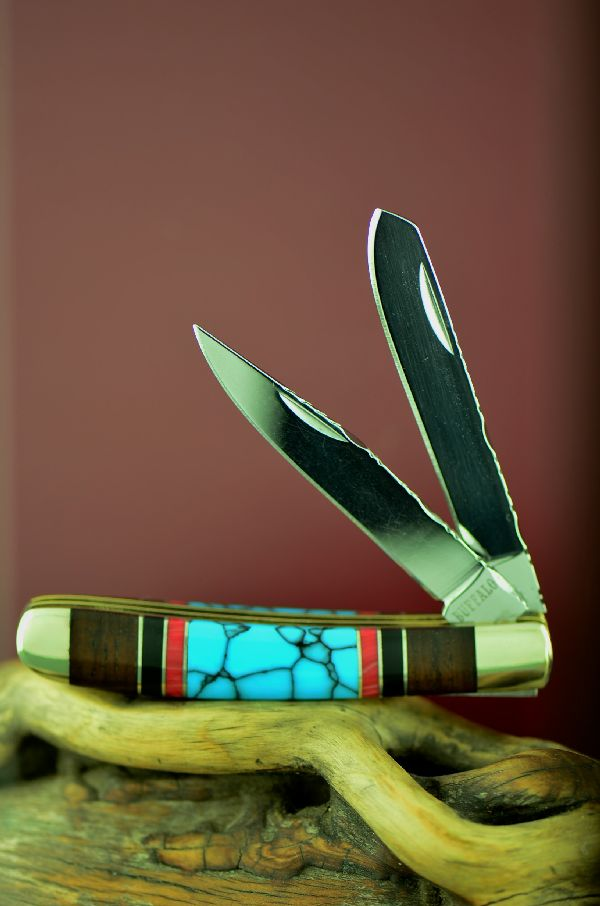 Bash Dani Custom Inlaid Turquoise, Red Spiny Oyster, Jet and Cocoboa Two Blade Trapper Knife