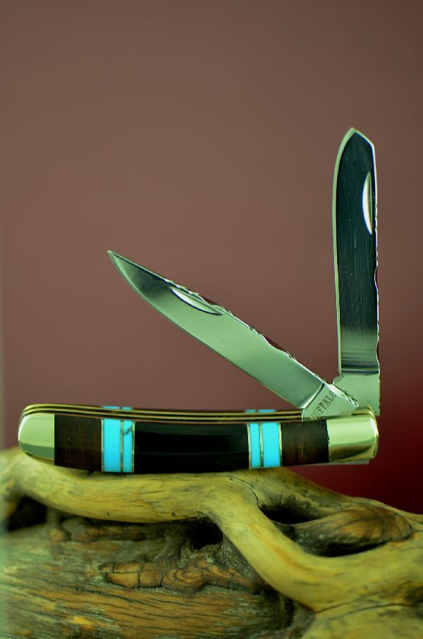 Bash Dani Cherokee Custom Inlaid Turquoise, Jet and Cocoboa 2 Blade Trapper Knife