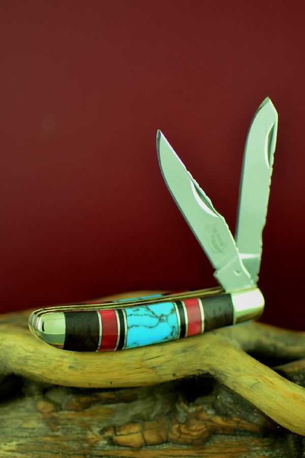 Bash Dani Custom Inlaid Turquoise, Red Spiny Oyster, Jet and Cocoboa Two Blade Mini Trapper Knife