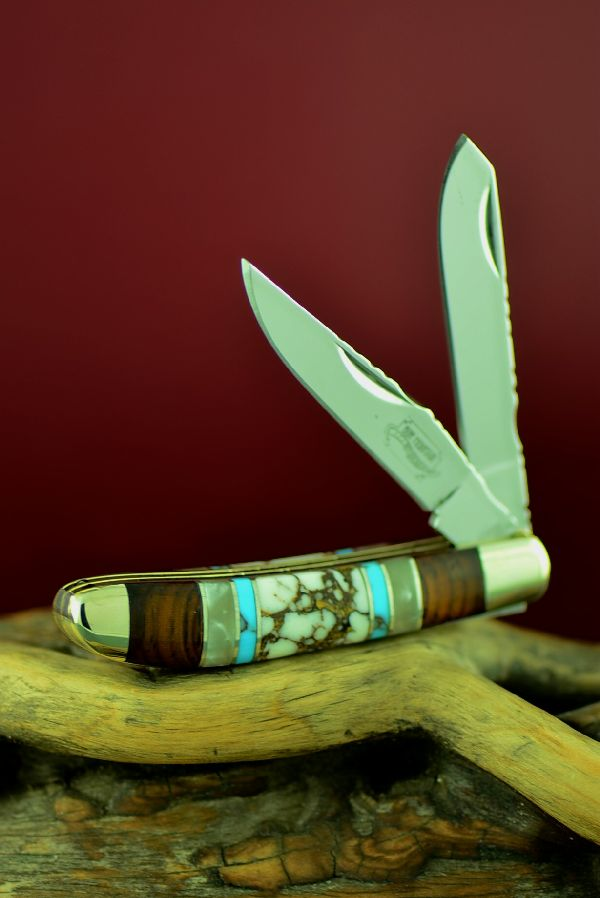Bash Dani Custom Inlaid Turquoise, Wild Horse Magnesite, Mother of Pearl and Cocoboa Two Blade Mini Trapper Knife