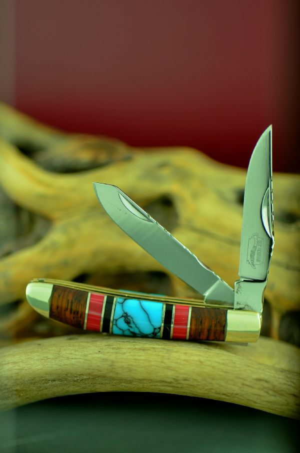 Cherokee Custom Inlaid Turquoise, Red Spiny Oyster, Jet and Cocoboa Two Blade Mini Trapper Knife