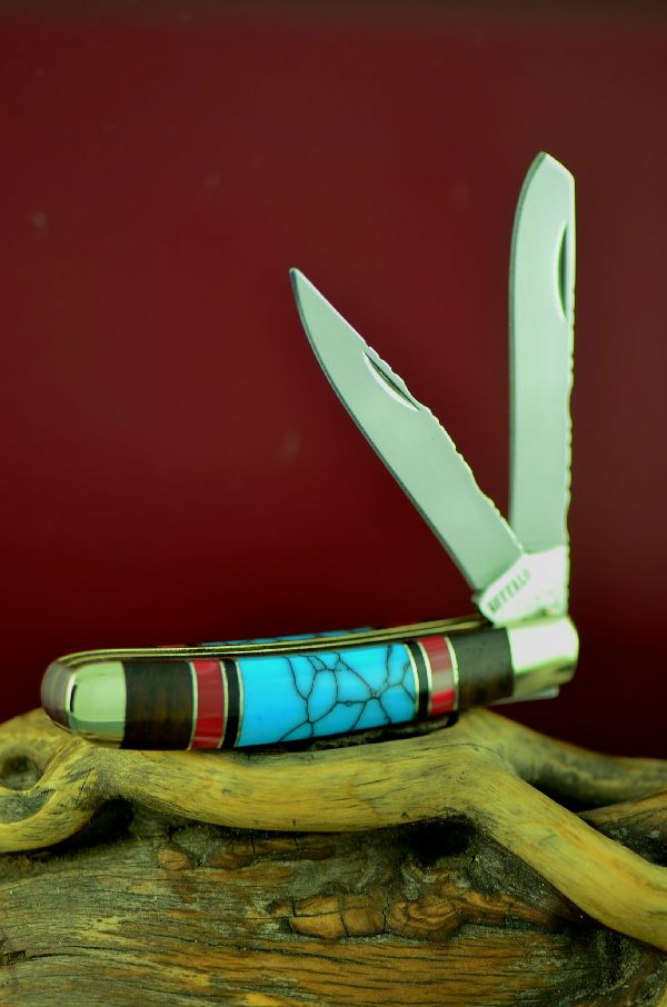Bash Dani Turquoise, Red Spiny Oyster, Jet and Cocoboa 2 Blade Trapper Knife
