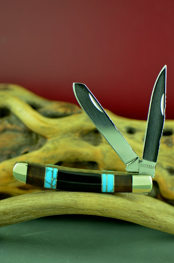 Cherokee 2 Blade Trapper Knife by Bash Dani Custom Inlaid with Turquoise, Jet and Cocoboa