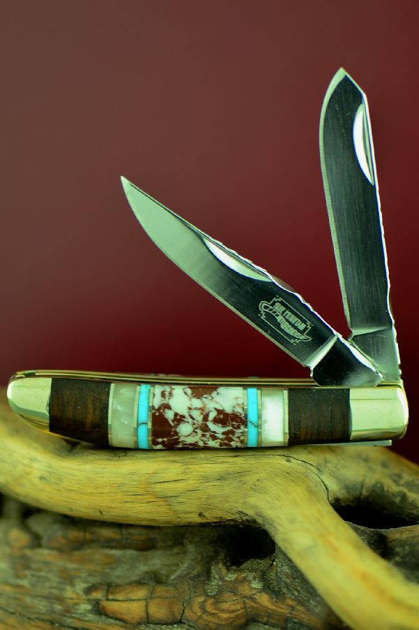 Two Blade Mini Trapper Knife Bash Dani Custom Inlaid Turquoise, Wild Horse Magnesite, Mother of Pearl and Cocoboa