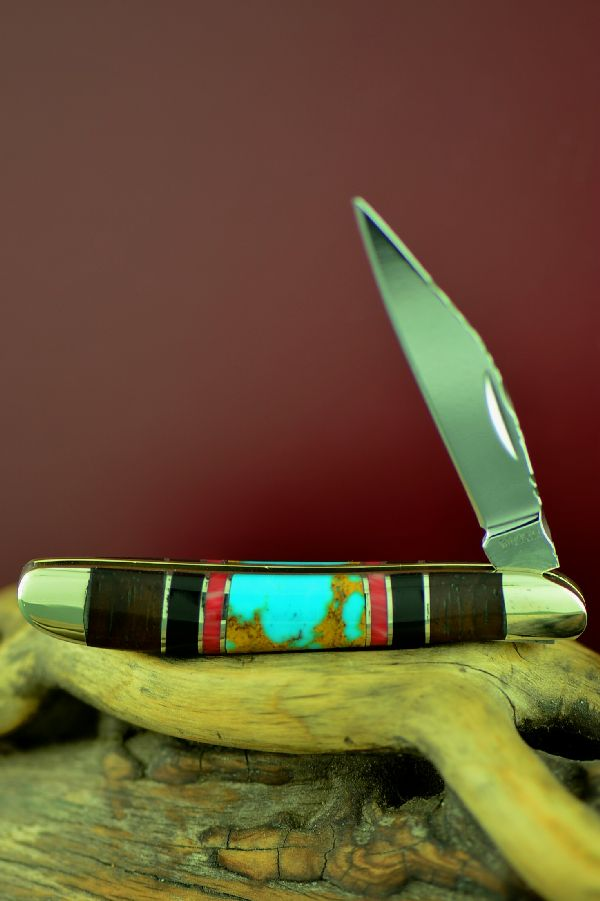Cherokee Turquoise, Red Spiny Oyster, Jet and Cocoboa Single Blade Peanut Knife