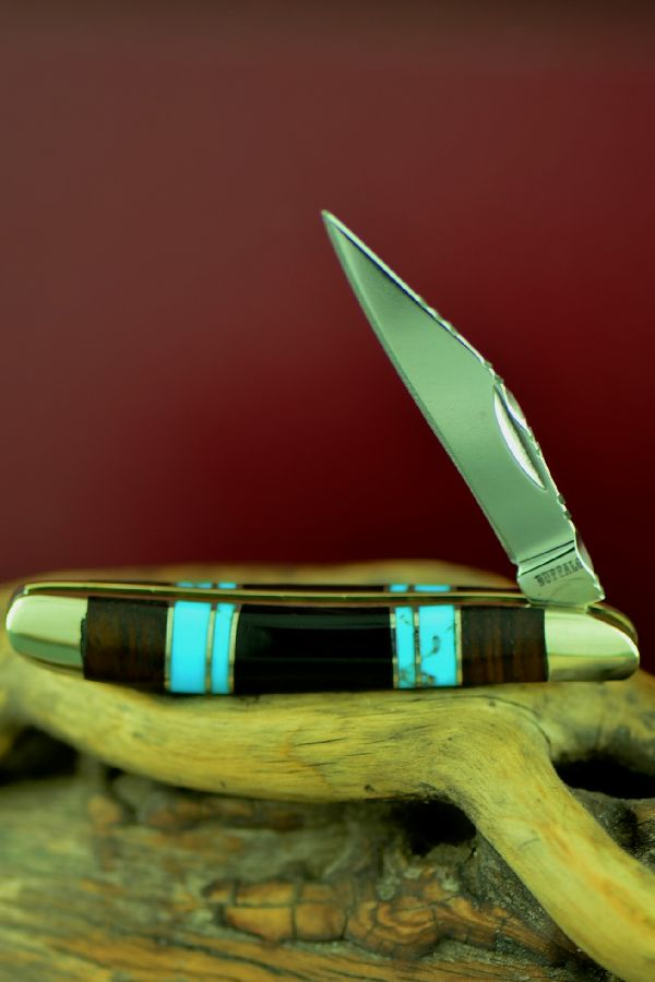 Cherokee Turquoise, Jet and Cocoboa Single Blade Peanut Knife