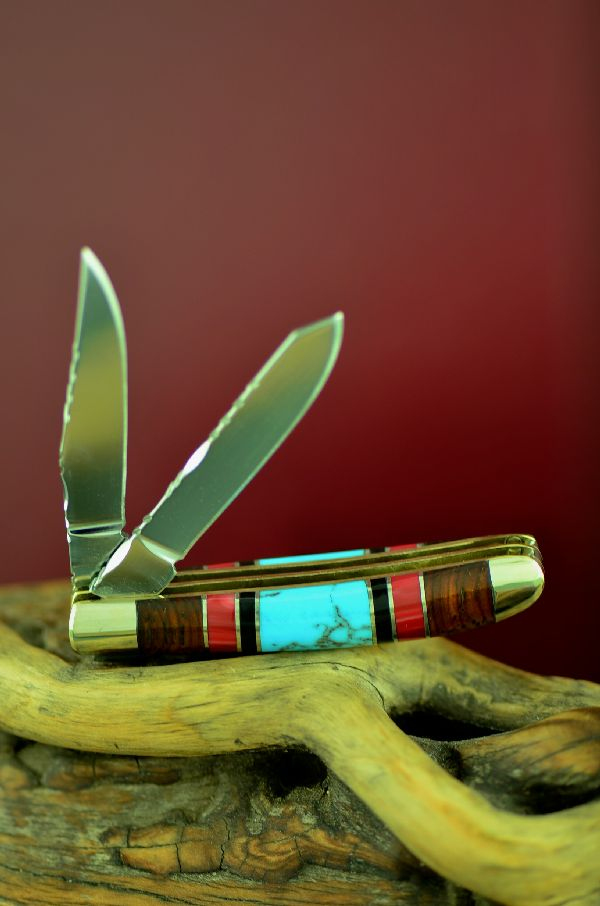 Bash Dani Two Blade Turquoise, Red Spiny Oyster, Jet and Cocoboa Mini Trapper Knife