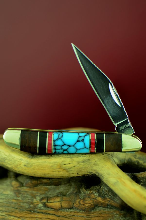 Single Blade Peanut Knife with Turquoise, Red Spiny Oyster, Jet and Cocoboa