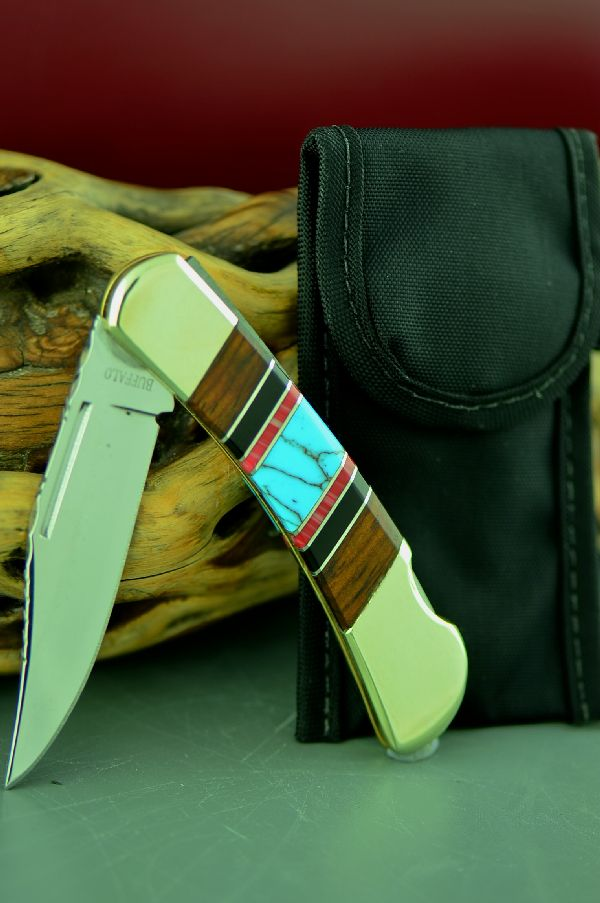 Frost Lock Back Knife Cherokee Red Spiny Oyster, Turquoise, Jet  and Cocoboa