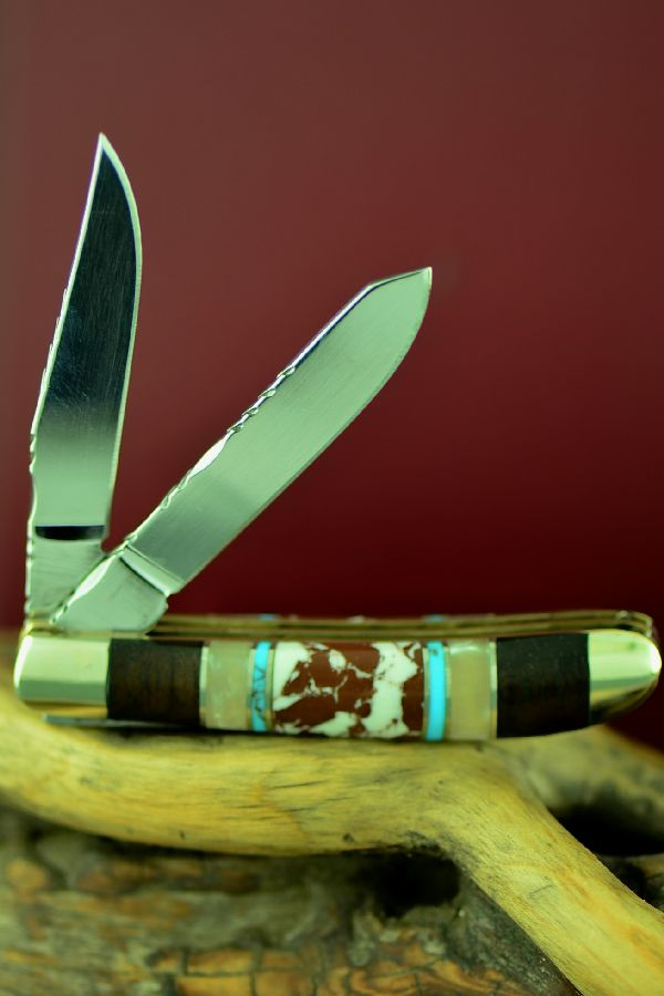 Two Blade Mini Trapper Knife Cherokee Wild Horse Magnesite, Turquoise, Mother of Pearl and Cocoboa