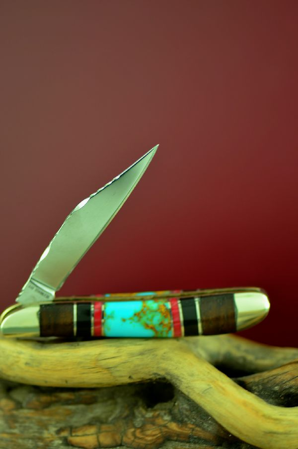 Cherokee Inlaid Turquoise, Red Spiny Oyster, Jet and Cocoboa Single Blade Peanut Knife