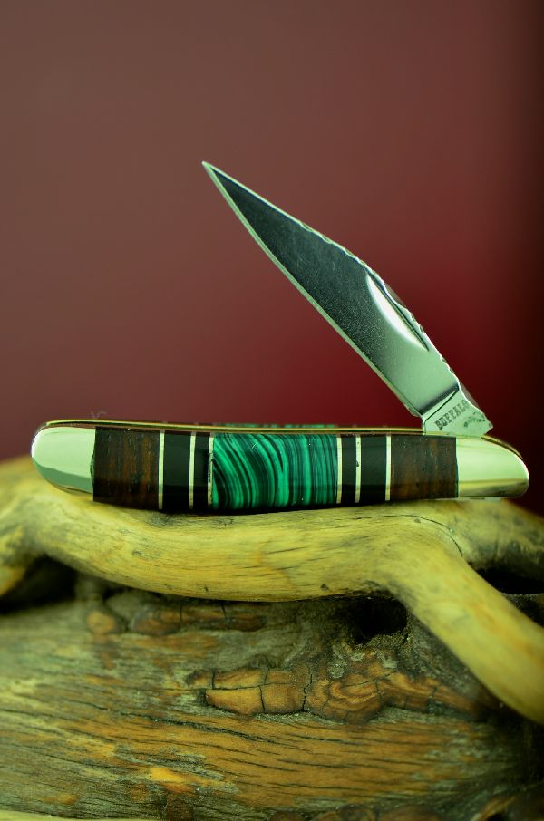 Bash Dani Cherokee Malachite, Jet and Cocoboa Single Blade Peanut Knife