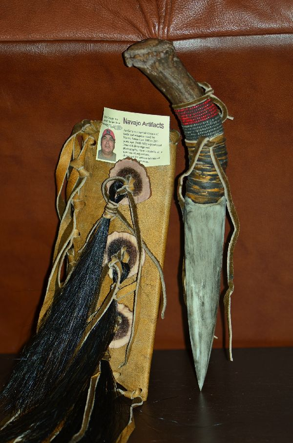 Navajo Beaded Deer Antler Knife with Buckskin Sheath by Gene George