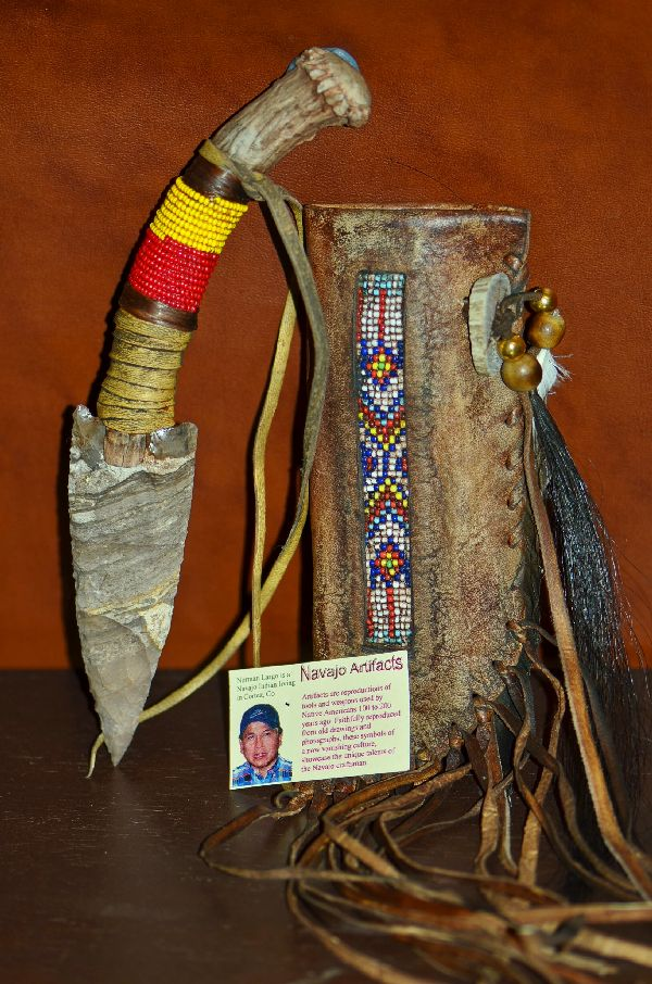 Navajo Beaded Flintknapped Deer Antler Knife with Buckskin Sheath by Norman Largo