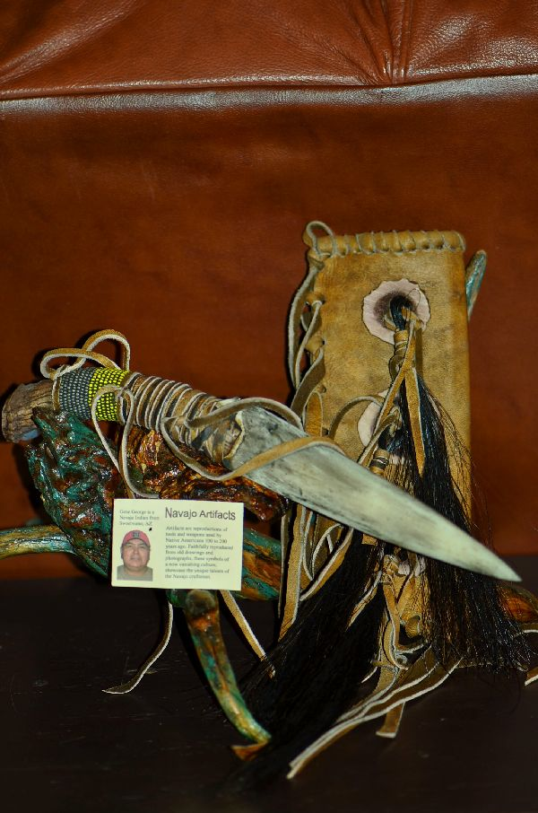 Gene George  Navajo Beaded Deer Antler  Knife with Buckskin Sheath