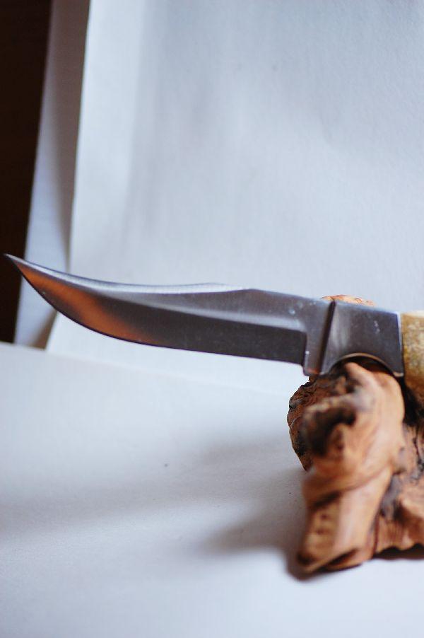 Hand Painted Elk Antler Knife by Stan the Elkman