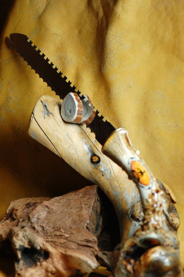 Hand Painted Deer Antler Bread Knife by Stan the Elkman