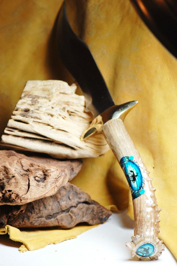Hand Painted Deer Antler Knife by Stan the Elkman