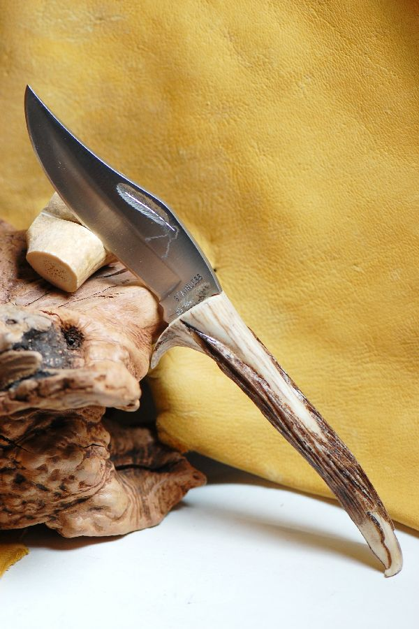 Hand Carved Deer Antler Knife by Bill Weatherford