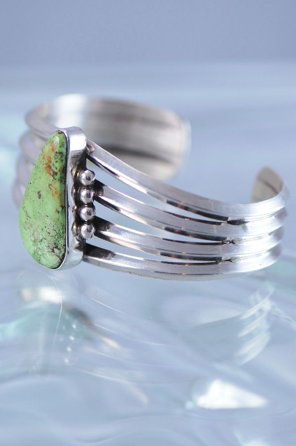 Navajo – Contemporary Sterling Silver Gaspeite Bracelet by Loren Begay